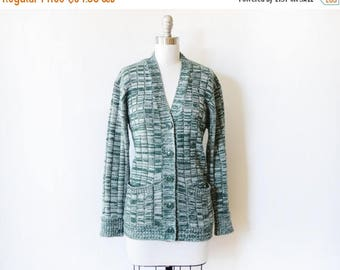 20% OFF SALE green space dye cardigan, vintage 70s cardigan, 1970s button up sweater, medium large ml