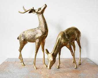 vintage brass deer figurines, large brass deers, mid century decor