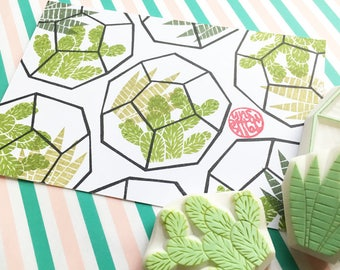 geometric terrarium rubber stamp set. cactus and succulent hand carved rubber stamps. plant stamp. chic wedding crafts. set of 3. large