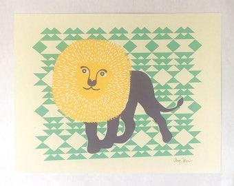 Safari nursery lion art print, Silkscreen print poster, Lion art print