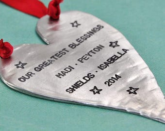 Large Heart Hand Stamped Ornament