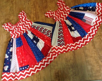 USA July 4th Stripey Dress * peasant style jumper CUSTOM SIZES 6m 12m 18m 2 3 4 5 6 7 8 10 12 14 your choice