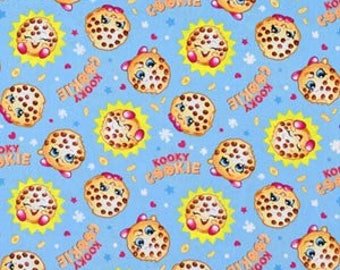 """Shopkins Kooky Cookie ~ one yard of fabric 100% cotton by the yard 44"""" - 45"""" wide"""