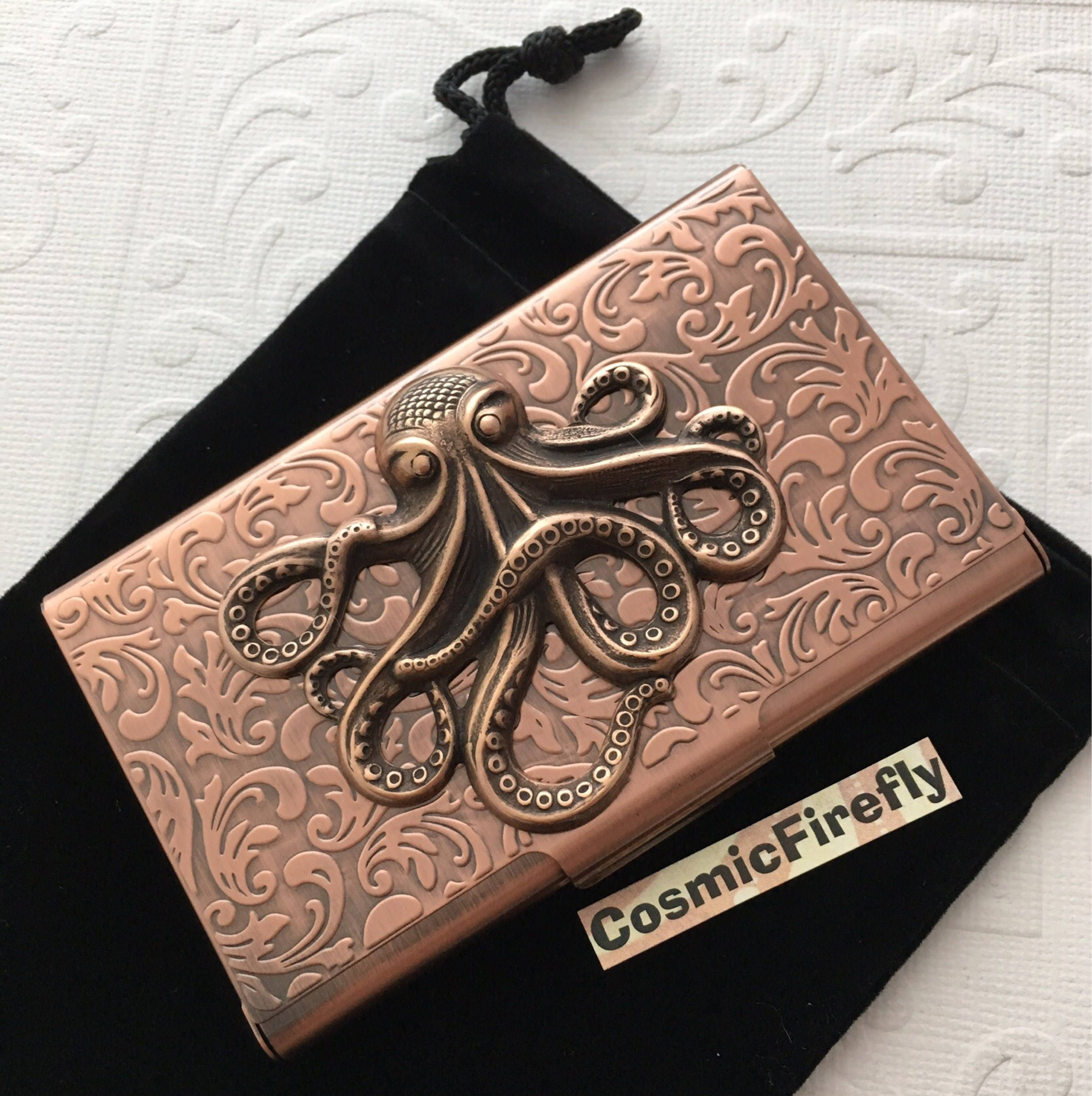Antiqued Copper Octopus Business Card Case Octopus Card Case Card ...