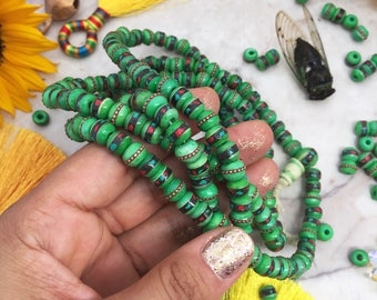 Deep Green, 8mm Inlaid Yak Bone Beads, 10 beads, Coral Turquoise & Wire / Bohemian, Nepal - Tibet Supplies, Prayer Beads, Malas, Supplies
