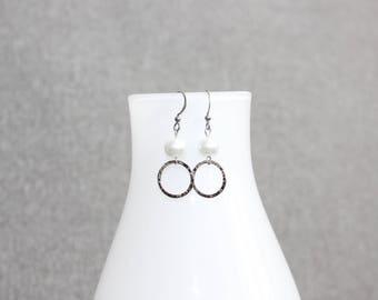 boucles doreilles, perles, boucles doreilles perle, boucles d'oreilles chic, classique, fancy, acier inoxydable, bijoux, fait au quebec