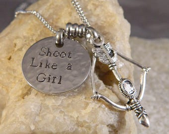Shoot Like a Girl Bow and Arrow Necklace