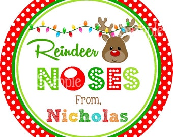 Reindeer Noses Personalized Stickers or Tags, PRINTABLE Reindeer Holiday Stickers,Reideer Noses, YOU PRINT