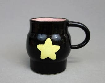 Black with Yellow Star Greg Universe Mug : Steven Universe SU Inspired Ceramic Coffee Mug
