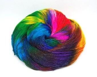"Glam Rock Sparkle Sock Yarn - ""Aint it Fun!"" -  Handpainted Superwash Merino - 438 Yards"