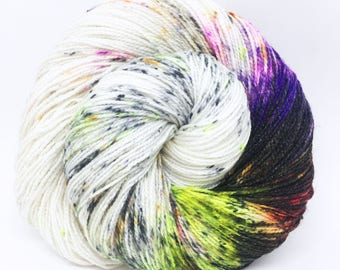 "Glam Rock Sparkle Sock Yarn - ""Electric BOOgaloo"" -  Handpainted Superwash Merino - 438 Yards"
