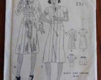 Butterick 6285 1930s Girls Pleated Dress Pattern Size 10 RARE