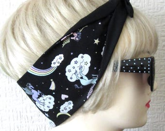 Unicorn Hair Tie with Rainbows Head Scarf by Dolly Cool Super Cute & Kawaii