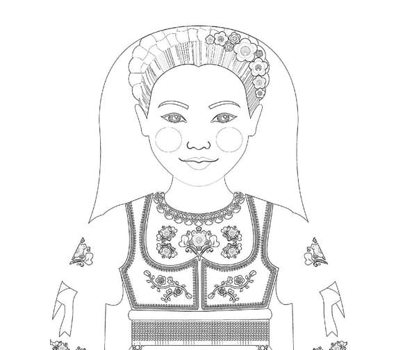 Serbian Doll Traditional Dress Coloring Page Printable Matryoshka