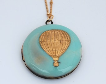 Hot Air Balloon Locket Necklace Necklaces Sky Blue Enamel Jewelry Gifts Custom Personalize Photo Photograph Keepsake Gift Portland Verabel