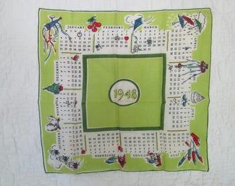 Vintage 1948 Calendar Handkerchief SALE