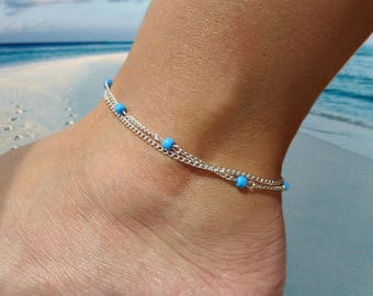 Women's anklet, with blue glass beads and silver colored chain, ankle bracelet,