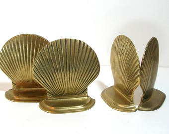 Brass Seashell Bookends, Two Pair