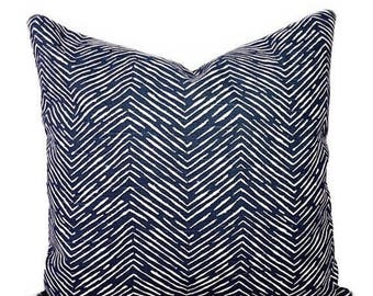 Blue Chevron Throw Pillow, Herringbone STUFFED Decorative Pillow, Navy and White Throw Pillow, Navy Accent Pillow, Cameron Navy - Free ship