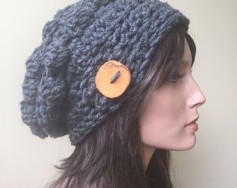 Button Tab Slouchy Vegan handmade winter fashion boho hipster chunky hat grey Ready to Ship