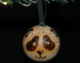 Panda Ornament - Wood Burned - Personalized - Solid Wood