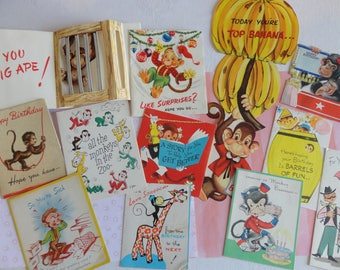 Monkeying Around for Birthdays Christmas and Get Well in Vintage All Occasion Lot No 276 Total of 12