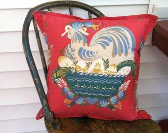 Folk Art Chicken, Vintage Cotton Pillow Cover by Barneche/Stephanie Barnes