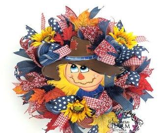 ON SALE Deco Mesh Fall Scarecrow Wreath, Autumn Wreath, Fall Burlap Wreath, Fall Wreath, Welcome Wreath, Sunflower Wreath, Front Door Wreath