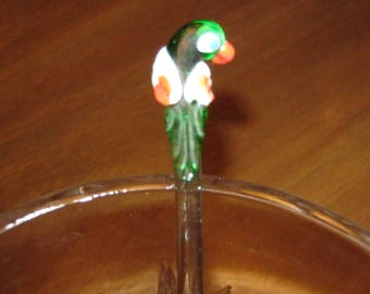 Set of 2 Vintage Tropical Bird Handblown Glass Swizzle Sticks