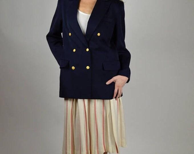 sale Nautical Jacket, Vintage Navy Blazer, Double Breasted, Navy Blue Blazer, Preppy Blazer, 90s Blazer, Professional Blazer, Size 10p,