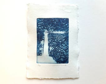 original etching - lighthouse, special edition printed on handmade paper