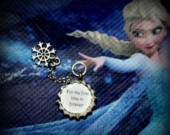 Summer SALE Frozen Elsa Anna Themed 'For the first Time in Forever' mini Bottle Cap Snowflake Necklace