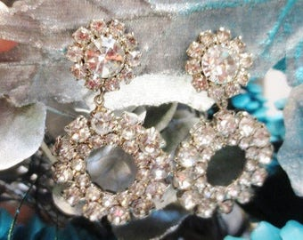 Vintage Rhinestone Clip On Earrings Long Dangle Clear Crystal Silver Statement Sparkle