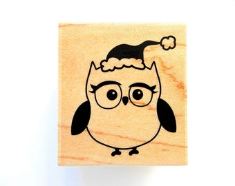 MRS OWL Hampton Art Wood Mount Rubber Stamp