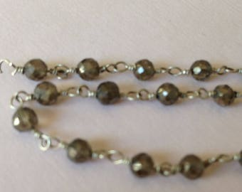 Smoky Quartz Rosary Chain, Gemstone Wire Wrapped Chain by Foot, Beaded Chain, Silver Plated, Wholesale Chain rc.19 solo