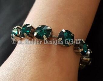 Crystal Bracelet - Emerald Rivoli Swarovski Crystals - 10 mm stone size