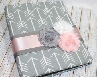 Guest Book / BABY Shower Guest Book / BoHo Shower / Pink and Gray Guest Book / baby Girl Guest Book / Blush Baby Shower / Arrow and Tee Pees