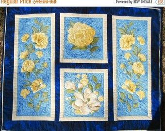 Summer Sale Quilted Wall hanging Yellow Roses Collage Quiltsy handmade