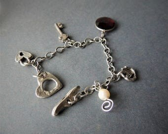 30% OFF CIJ Silver Charm Bracelet, Love Bracelet, Artisan Silver Charm, Artisan Jewelry, Handcrafted Jewelry, Romantic Gift, Urban Chic