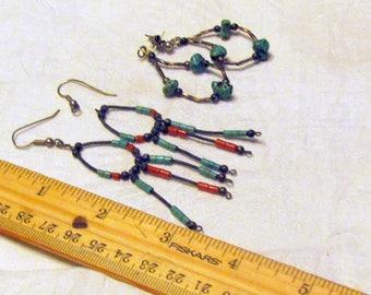 Old Pawn Native American Earrings, 2 pr
