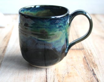 Shiny Black Mug with Blue and Deep Olive Green Glaze 15 oz. Handcrafted Pottery Coffee Cup Stoneware Made in USA