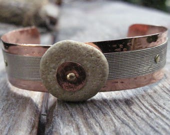 Mixed metal copper and German Silver beach rock cuff bracelet