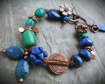 Blue and Green Gemstone Bracelet Lapis and Turquoise