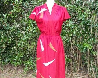 SALE 70s Burgundy Red Faux Wrap Dress size Medium Flutter Sleeves Disco Dress