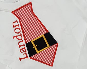 Christmas Santa Tie Boys shirt Appliqued Embroidered Boutique Custom Personalized Name Included
