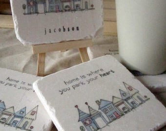 XMASINJULYSale Personalized Tile Coasters - Park Your Heart - Housewarming Gift
