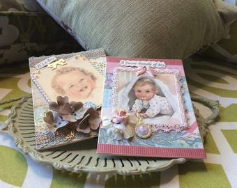 Vintage-style Baby Cards (set of 2) - Handmade Baby Cards