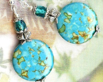 Earrings Turquoise Blue mosaic LENTILS 20 mm Crystal OR645