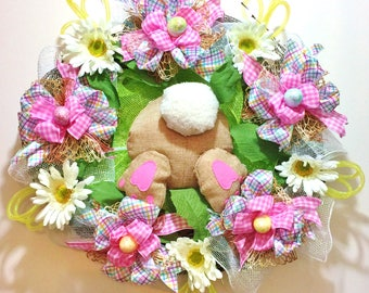 FREE SHIPPING Easter Bunny Butt Bottom Rear End Rabbit Flowers Daisies Eggs - Welcome Grapevine Door Wreath