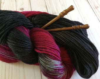 "100 Yards, Hand Painted Heavy Worsted/Aran Weight Yarn, Knitting Yarn, Crochet Yarn, Singles Yarn, ""Galactic Blooms"" Superwash Merino Single"